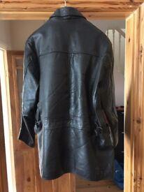 Men's black leather jacket.