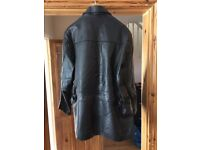 Men's black leather jacket.