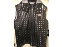 Mens Gilet Real Leather with studs