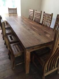 Indian Sheesham Solid Heavy Wood Large Dining Table And 10 Chairs