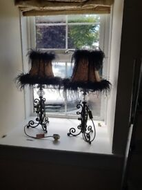 designer lamp stands and shades x2