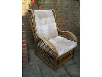 Pair of wicker/rattan conservatory chairs with cushions