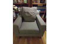 Dwell armchair in light grey