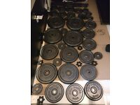 2 Pairs of Dumbells and Weights (94kg)