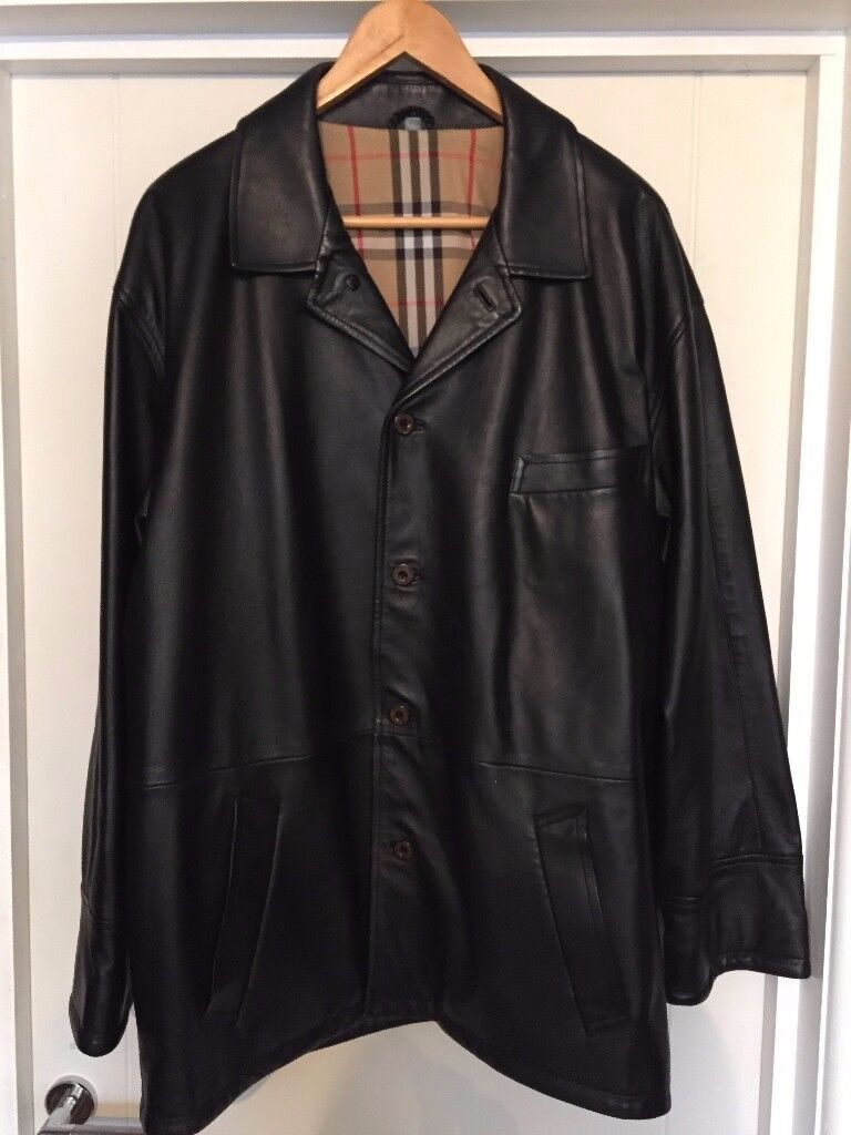 BURBERRY MENS LEATHER JACKET 52 CHEST XLARGE