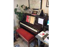 Upright Piano - E. Wheatland & Sons London, Piano Stool & Metronome