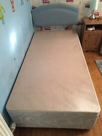 Single DIvan Bed with Blue headboard and 2 storage draws