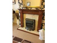 LOVELY WOODEN FIRE SURROUND WITH ELECTRIC FIRE