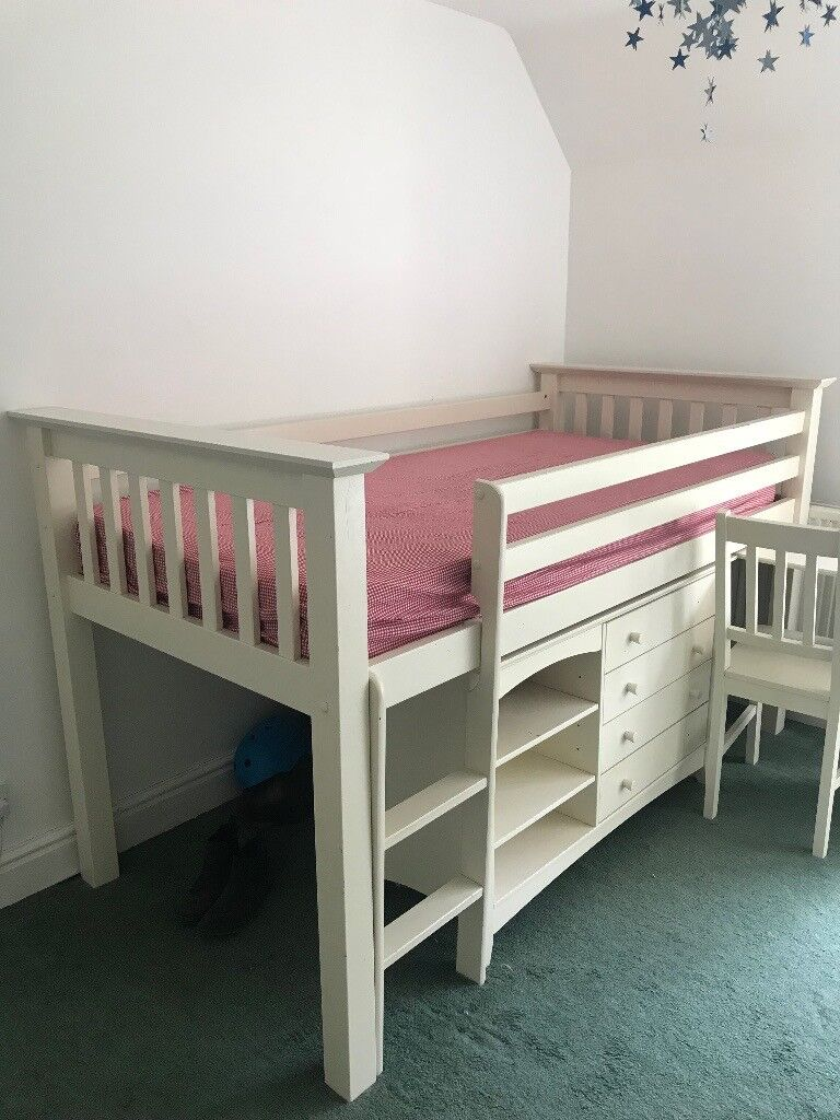 Rens White Cabin Bed Mid Sleeper Storage Drawers Desk And Chair Solid Wood