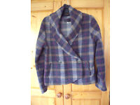 Per Una (M&S) plaid fleece-like double-breasted jacket with shawl collar. Size M/approx 12. £4 ovno