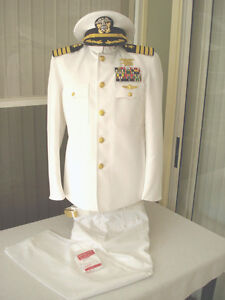 USN Navy Captain Seal Dress White Choker Uniform | eBay