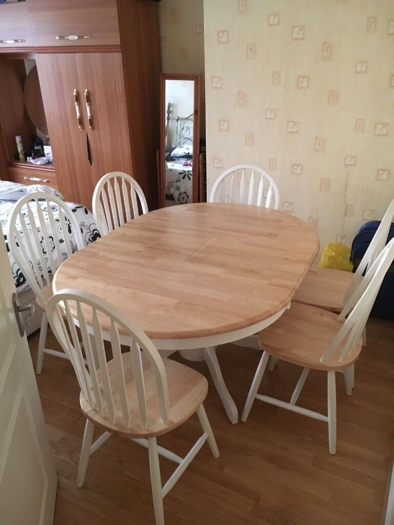 Solid Wood Extending Dining Table 6 Chairs