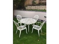 Aluminium garden set four chairs and table