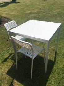 Ikea white table and chairs with brand new top kitchen dining melltorp adde