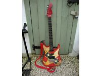 Classic, Rockster,Electric Guitar ( SK525),With Radical Graphics. Circa 1980's.