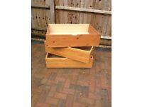 3x pine underbed storage drawers