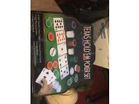 Texas holdem poker set with extra chips