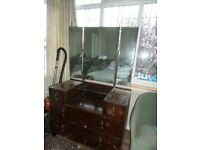 Antique Dressing table with triple mirror and drawers