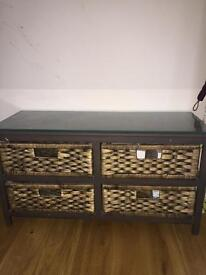 Wood and rattan unit