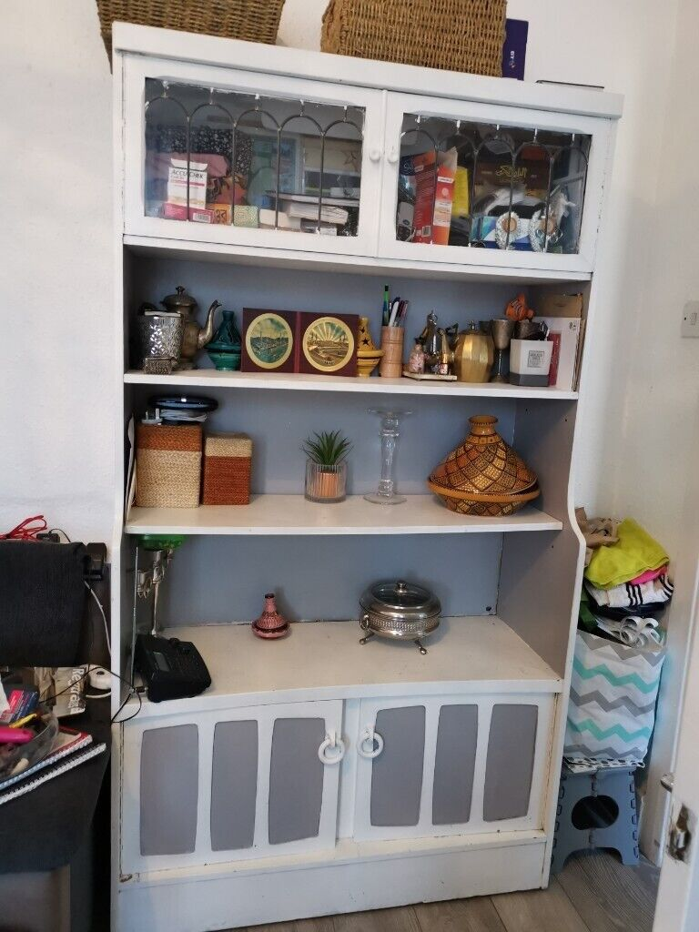 Shabby Chic French Grey White Solid Wood Glass Display Living Room Cabinet Bookcase In Hackney London Gumtree