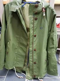 Green Fred Perry Parka jacket Size 6 (more like 10)