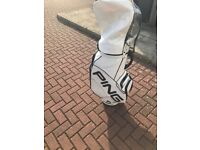 White leather PING golf bag