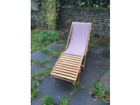 4x Oak Deck Chairs + 4x Footstools + 4x Replacement Canvas