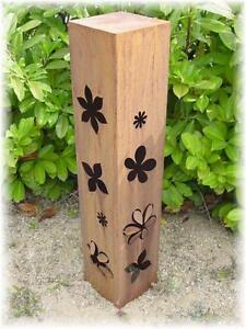 Rostsäule 3D Blumen Motiv Blume Edelrostsäule Garten Säule Deko Edelrost