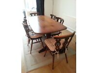 Ercol refectory table with 6 Fleur de Lys Chairs