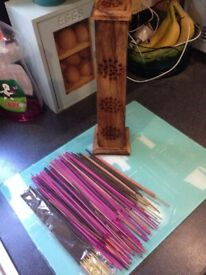 Tall Indian wood incense burner & incense sticks bundle