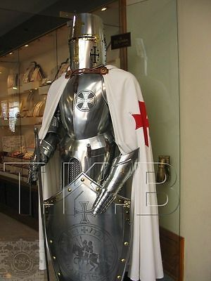 Rare Medieval Knight Suit Of Templar Armor W/Sword Combat Full Body Armour Stand
