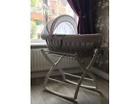 Izziwotnot Gift grey & white waffle wicker Moses basket (basket only, stand not included)
