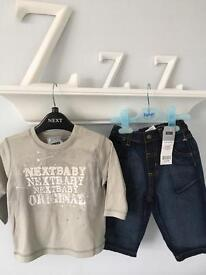 NEXT BNWT BABY BOY JEANS LONG SLEEVED TOP OUTFIT RRP £18 6-9m