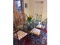 Glass John Lewis dining room table & 6 chairs