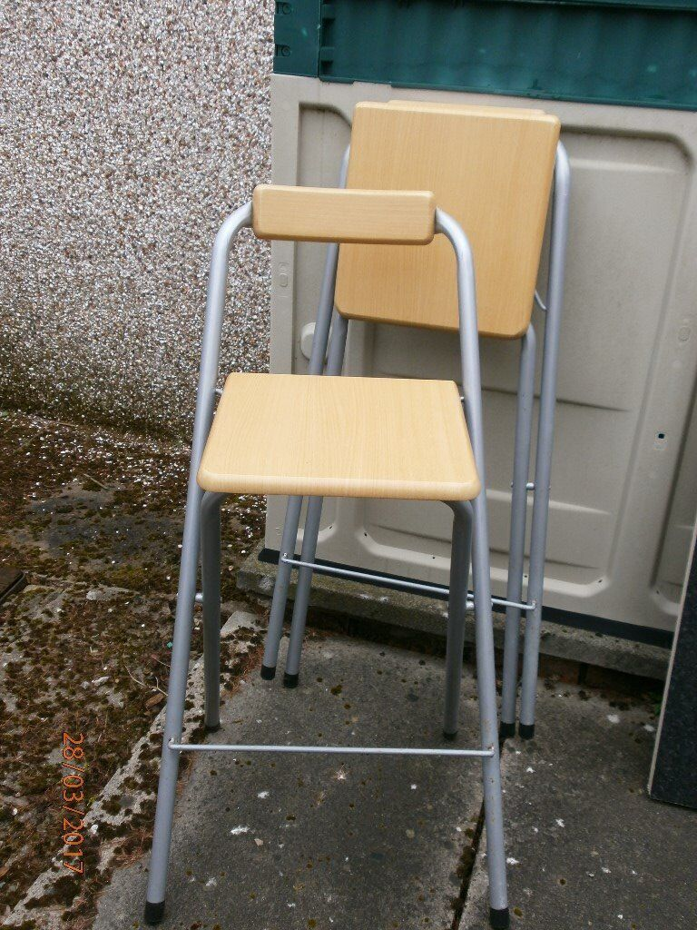 2 Breakfast Bar Seatsin Glenrothes, FifeGumtree - 2 high breakfast bar folding seats with back rest easy storage good condition. £15 the pair