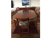 reproduction dining room table wt. 2 extensions, sideboard and 8 matching chairs, recently recovered