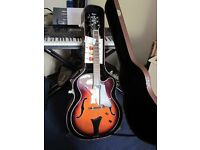 AS NEW HOFNER HCT-J17 SB GUITAR PLUS HARD TOP CASE, AMPS, STAND, CABLE