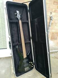 Ibanez SR520 Active 4 String Bass with Bartolini Pre-amp, Pickups and Hard Case.