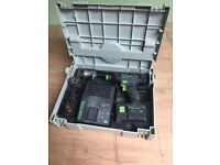 Festool battery drill in box plus accessories ,