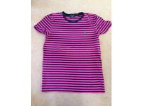 Women's Ralph Lauren Pink and black striped T-shirt size medium - in excellent condition