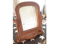 Vintage carved wooden swing dressing table mirror