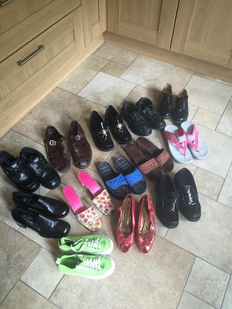 13 Pairs Of Shoes - (2 Pair Of Ladies From M&S Are NEW) - See All Close-Up Photos