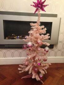VINTAGE RETRO KITSCH SMALL PINK SPARKLY CHRISTMAS TREE WITH DECORATIONS