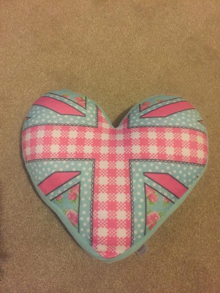 Heart shaped Union Jack cushion