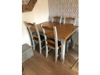 Grey and Oak solid table and chairs