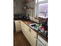Howdens kitchen units, oak worktop, sink, tap and appliances
