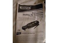 "DRAPER 14199 Expert 1/4"" Sq. Dr. Stubby Reversible Air Ratchet"