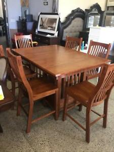 Solid Oak Counter Height Dining Table And 6 Chairs
