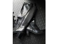 LEATHER LONG BOOTS SIZE 5 1/2 BLACK