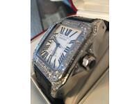 Authentic Cartier Santos 100 XL - Real Diamond Case - Box & Papers- Mint.